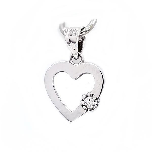 Fehér arany szív medál