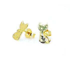 sárga arany cicás bedugós fülbevaló