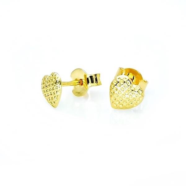 sárga arany szív bedugós fülbevaló
